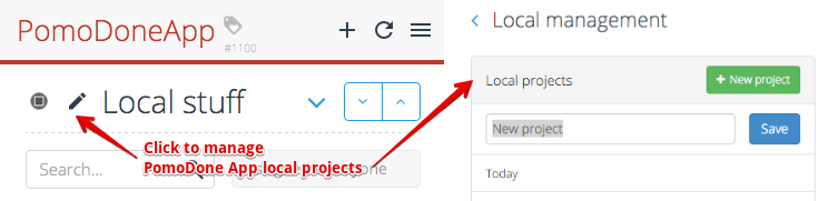 Manage Local Projects