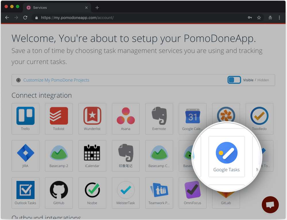 How do I connect PomoDone App and Google Tasks?