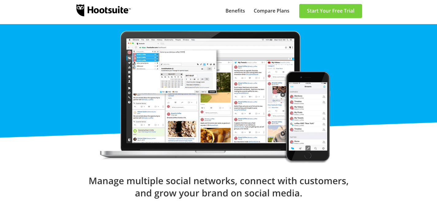 One great tool to start with is Hootsuite