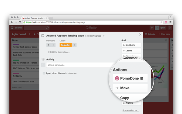 Each Trello card has special button PomoDone It in the right hand side Actions list