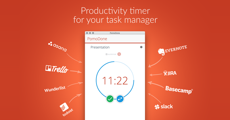 Pomodoro timer for your productivity tool: Trello, Asana, Todoist